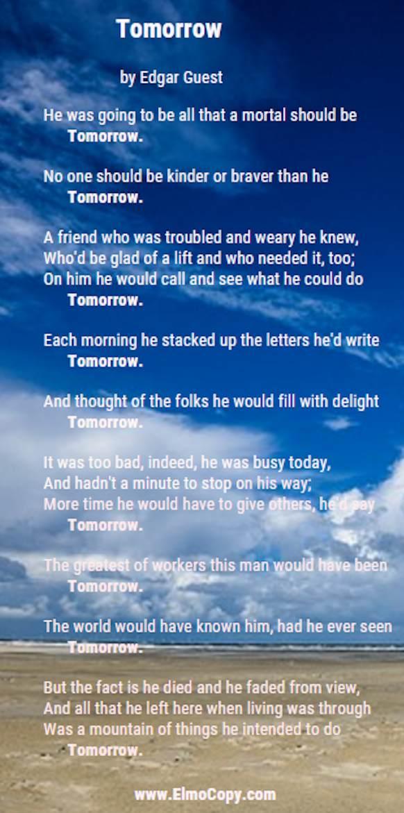 Tomorrow Poem