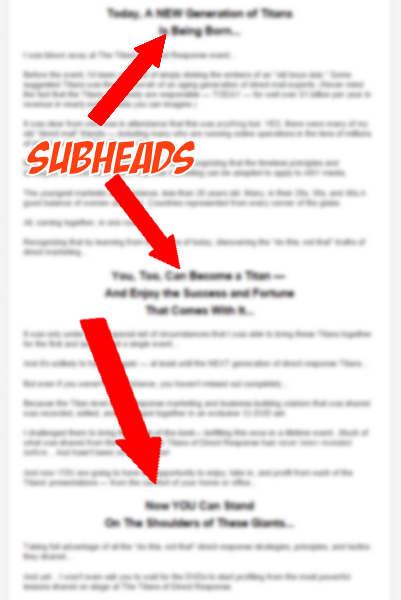 copywriting subheads